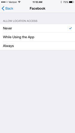 Location Services settings in iOS8 for the Facebook app