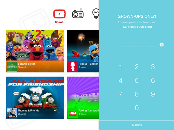 YouTube kids app screen showing the parental controls area