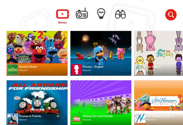 YouTube Kids App Home Screen