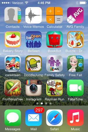 iPhone screen with apps available