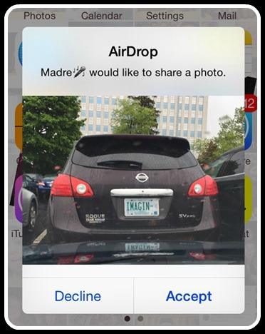 Decline or Accept a photo in AirDrop