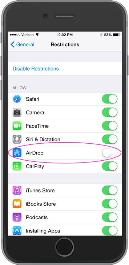 Use restriction settings in iOS to disable AirDrop