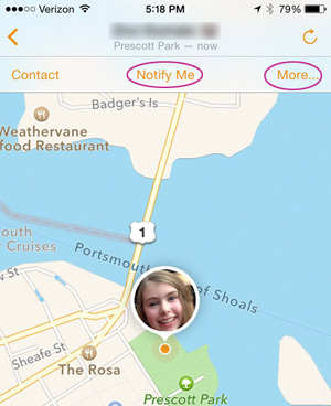 Details on family location in Find My Friends
