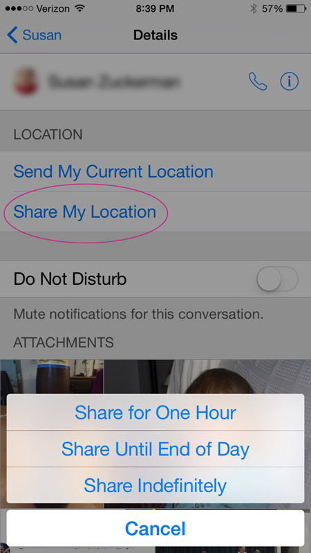 Share your location with a friend in iMessage