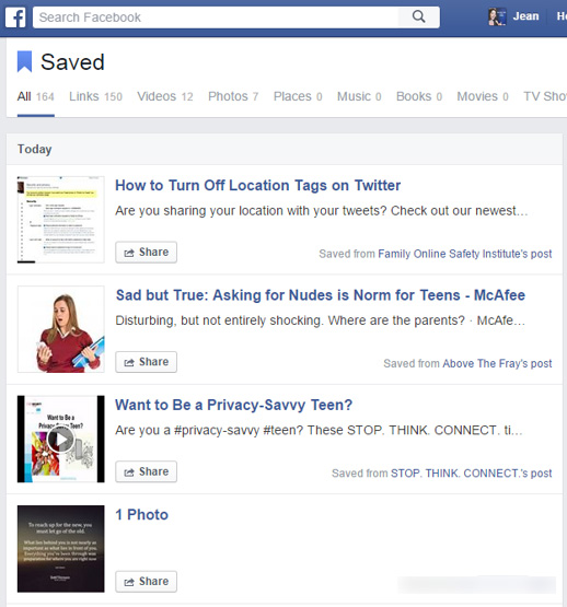 A list of saved articles, links and videos on Facebook