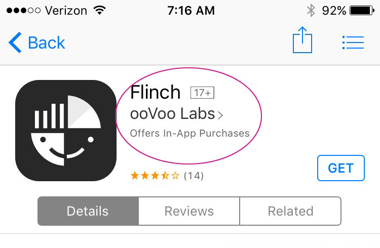 Flinch rated app 17+ in Apple store