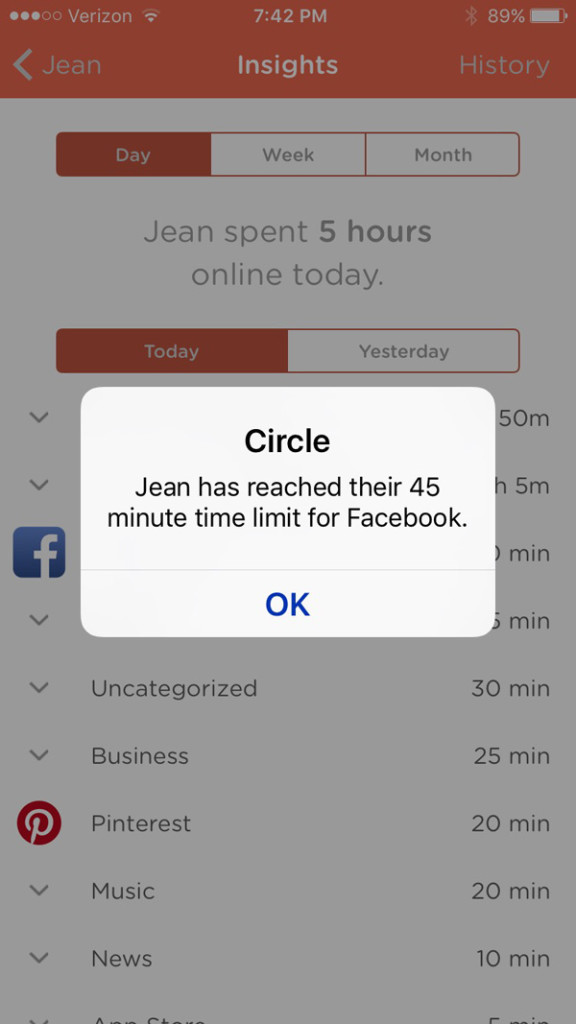 Insights and content limits shown on the Circle app