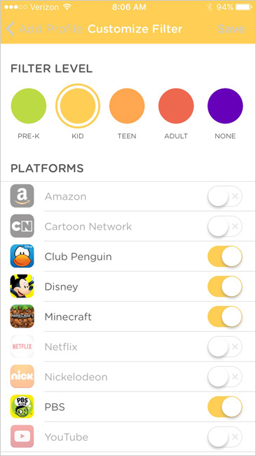Circle parental control Kid-level device restrictions are customizable