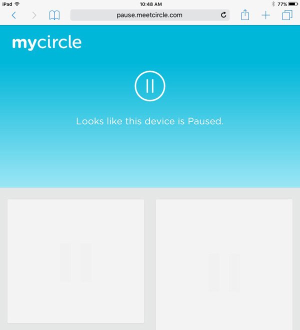 Internet is paused on an iPad using Circle parental controls