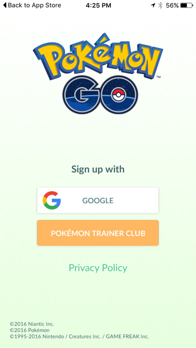 Signing up for Pokemon Go with a Google account
