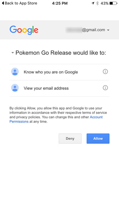 Pokemon Go accessing Google information