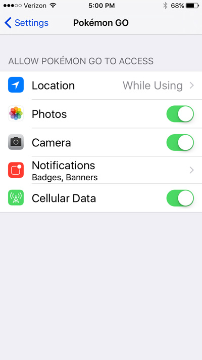 Pokemon Go settings in iOS