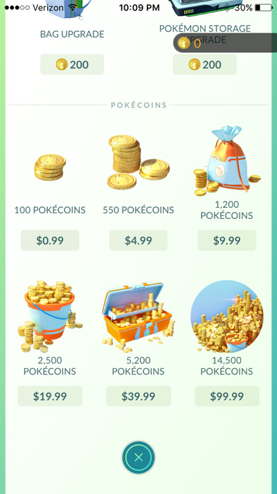 Pokemon Go in-app purchases from $1 to $99