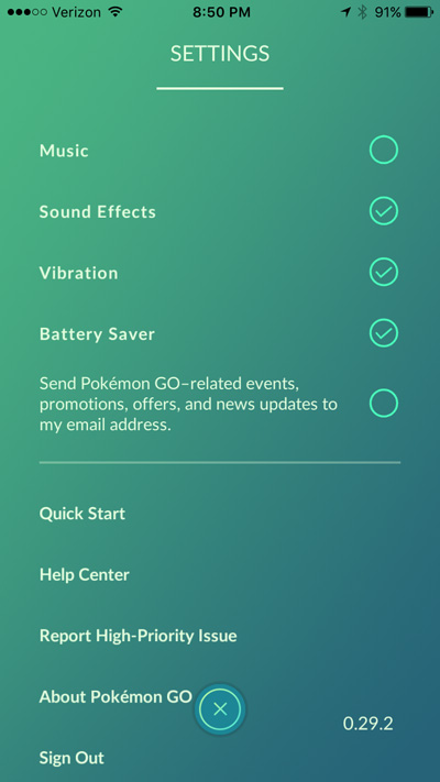 Settings screen in Pokemon Go