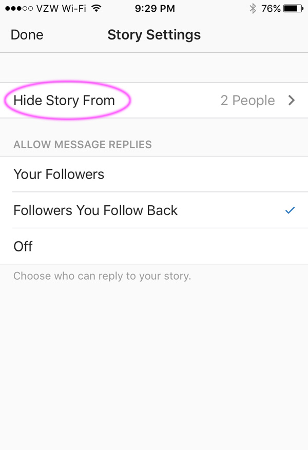 Instagram option to hide your story from followers and choose who can send you replies