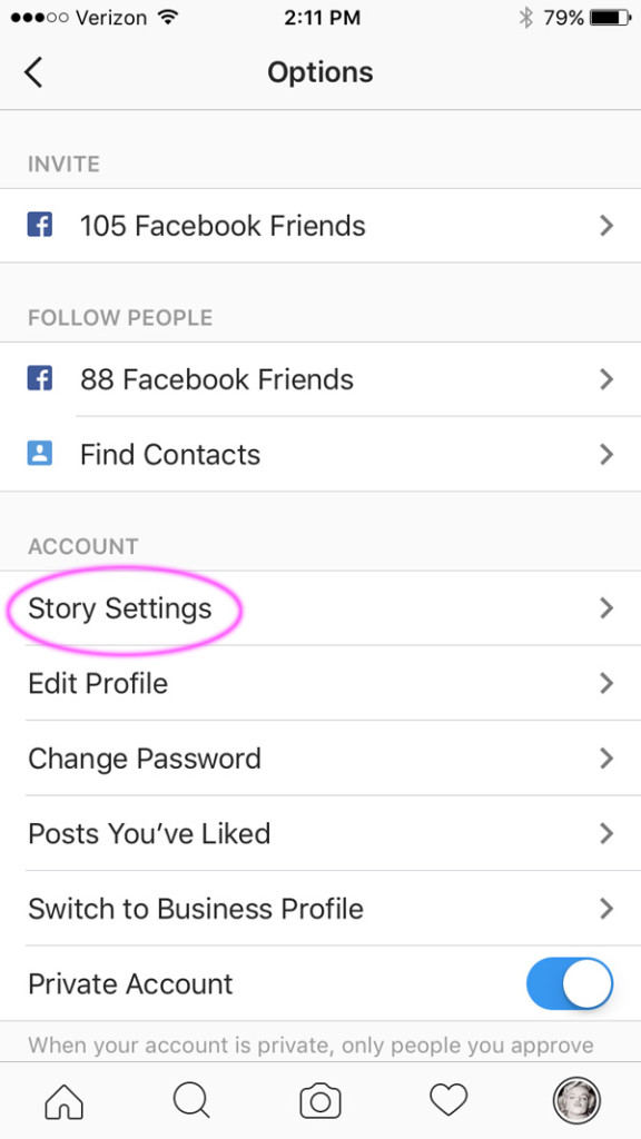 Instagram Options - Story Settings