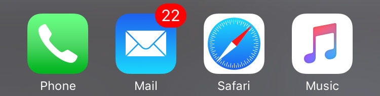 Email notification red badge icon with only 22 unread messages