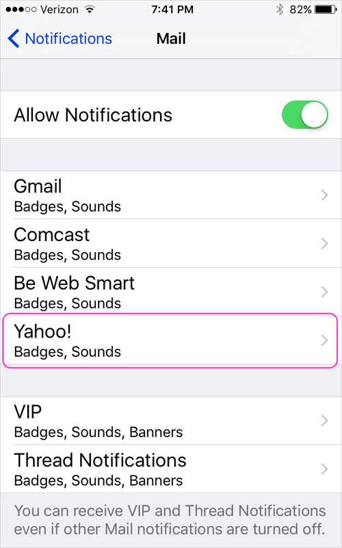 Email notification settings for individual email accounts, such as Yahoo or Gmail