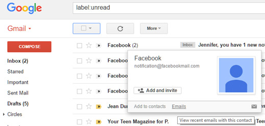 Search unread email by sender in Gmail