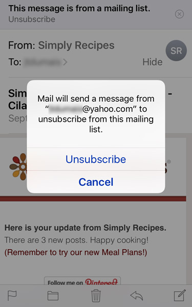 Unsubscribe from an e-mail list directly from iOS 10