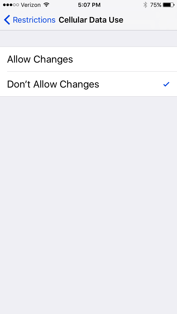 Set restrictions on an iPhone to prevent changing the cellular usage settings