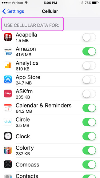 How to turn off cellular data use for certain apps on an iPhone