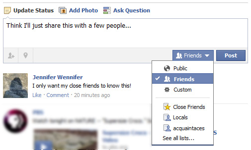Facebook Tip – New Options When You Post an Update | Be Web