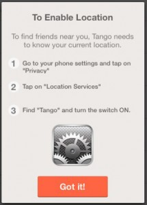 Tango reminder to enable Location