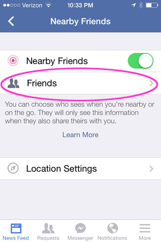 Chose which friends get to see if you're nearby