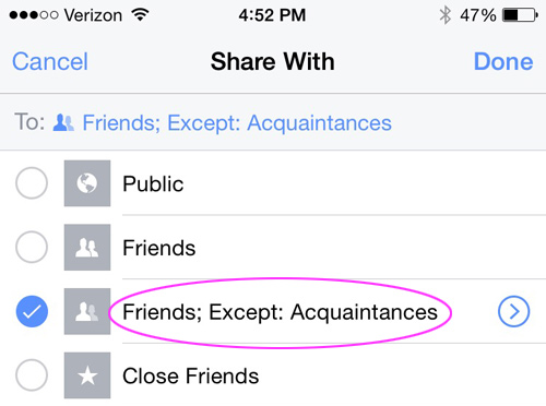 How to use the Facebook Acquaintances List to hide annoying